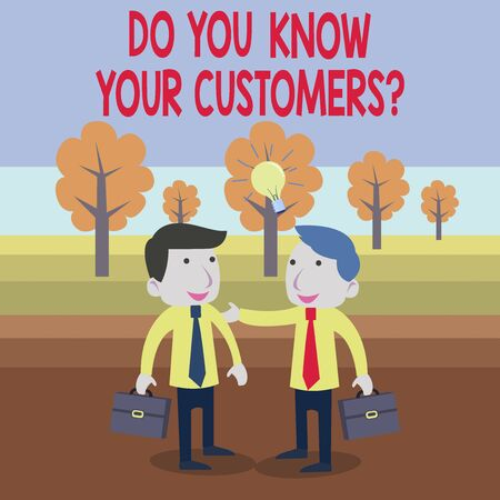 Text sign showing Do You Know Your Customers Question. Business photo text having a great background about clients Two White Businessmen Colleagues with Brief Cases Sharing Idea Solution Stok Fotoğraf