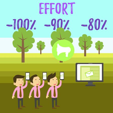 Writing note showing Effort 100 Percent 90 Percent 80 Percent. Business concept for Level of determination discipline motivation SMS Email Marketing Media Audience Attraction PC Loudspeaker