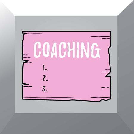 Conceptual hand writing showing Coaching. Concept meaning demonstrating supports client in achieving specific demonstratingal goal Wooden plank slots grooves wood panel colored board lumber