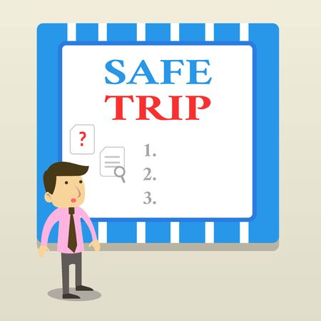 Word writing text Safe Trip. Business photo showcasing wishing someone to reach his destination in good health Young Male Businessman Office Worker Standing Searching Problem Solution Stok Fotoğraf