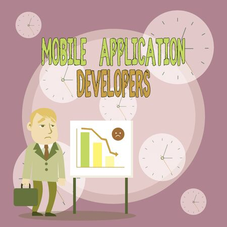 Writing note showing Mobile Application Developers. Business concept for create software for devices like app store Businessman with Brief Case Standing Whiteboard Bar Chart