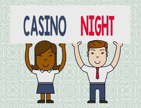 Word writing text Casino Night. Business photo showcasing event where can experience the fun playing in a real casino Two Smiling People Holding Big Blank Poster Board Overhead with Both Hands