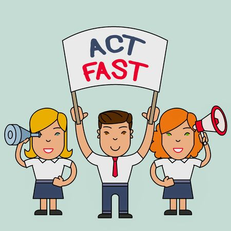 Conceptual hand writing showing Act Fast. Concept meaning Voluntarily move in the highest state of speed initiatively People with Banner, Megaphone and Spy Glass Demonstration Imagens