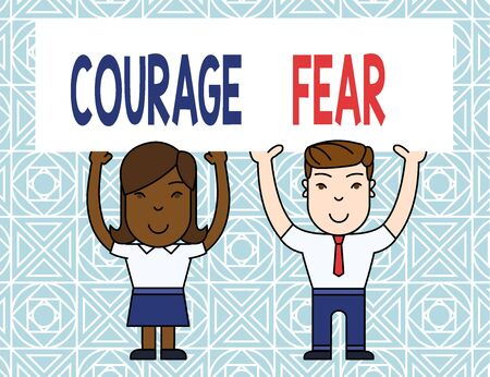 Word writing text Courage Fear. Business photo showcasing quality of mind that enables a demonstrating to face difficulty Two Smiling People Holding Big Blank Poster Board Overhead with Both Hands