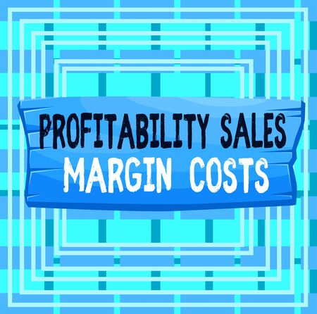 Text sign showing Profitability Sales Margin Costs. Business photo text Business incomes revenues Budget earnings Plank wooden board blank rectangle shaped wood attached color background