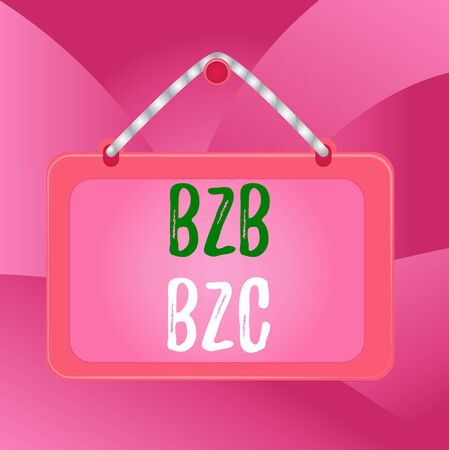 Handwriting text B2B B2C. Conceptual photo two types for sending emails to other showing Outlook accounts Board fixed nail frame string striped colored background rectangle panel Фото со стока