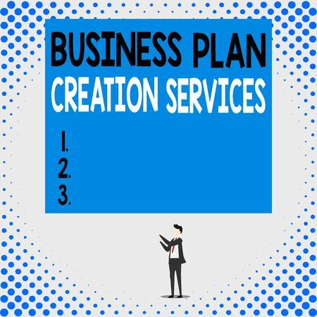 Handwriting text Business Plan Creation Services. Conceptual photo paying for professional to create strategy Isolated view young man standing pointing upwards two hands big rectangle
