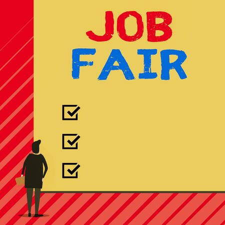 Handwriting text writing Job Fair. Conceptual photo An event where a demonstrating can apply for a job in multiple companies Man stands in back view in front of huge empty blank big rectangle board