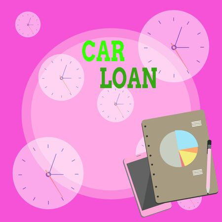 Writing note showing Car Loan. Business concept for taking money from bank with big interest to buy new vehicle Layout Smartphone Off Ballpoint Notepad Business Pie Chart