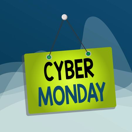 Writing note showing Cyber Monday. Business concept for Monday after the Thanksgiving holiday Online shopping day Memo reminder empty board attached background rectangle