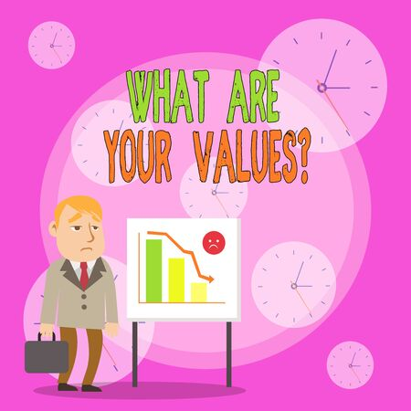 Writing note showing What Are Your Values Question. Business concept for asking someone about his good qualities Businessman with Brief Case Standing Whiteboard Bar Chart