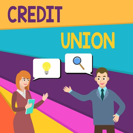 Text sign showing Credit Union. Business photo showcasing cooperative association that makes small loans to members Business Partners Colleagues Jointly Seeking Problem Solution Generate Idea