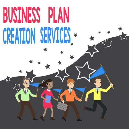 Conceptual hand writing showing Business Plan Creation Services. Concept meaning paying for professional to create strategy Crowd Flags Headed by Leader Running Demonstration Meeting