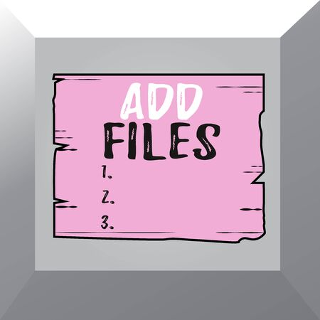 Conceptual hand writing showing Add Files. Concept meaning To put more information to a certain demonstrating,thing,or document Wooden plank slots grooves wood panel colored board lumber