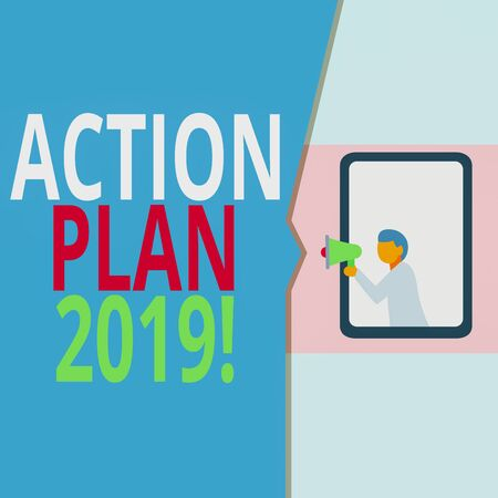 Conceptual hand writing showing Action Plan 2019. Concept meaning proposed strategy or course of actions for current year Geometrical background man chest holding megaphone speech bubble