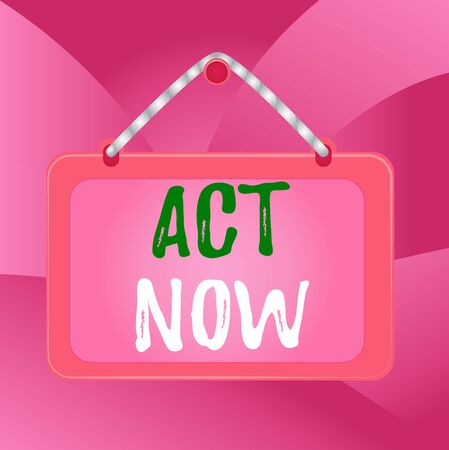 Handwriting text Act Now. Conceptual photo Having fast response Asking someone to do action Dont delay Board fixed nail frame string striped colored background rectangle panel 스톡 콘텐츠