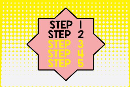 Writing note showing Step 1, 2, 3, 4 and 5. Business concept for Steps levels of a process work flow Vanishing dots middle background design. Gradient Pattern. Futuristic