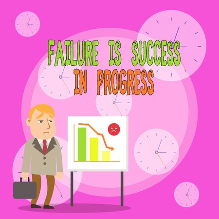 Writing note showing Failure Is Success In Progress. Business concept for You have to make mistakes for improvement Businessman with Brief Case Standing Whiteboard Bar Chart