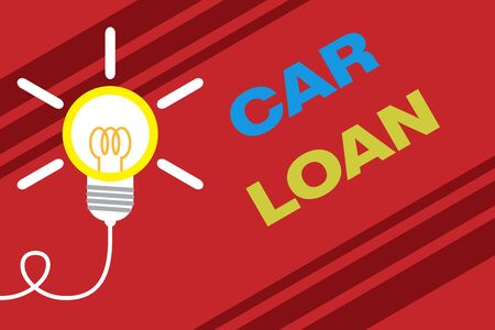 Conceptual hand writing showing Car Loan. Concept meaning taking money from bank with big interest to buy new vehicle Idea light bulb Successful turning idea invention Startup 写真素材