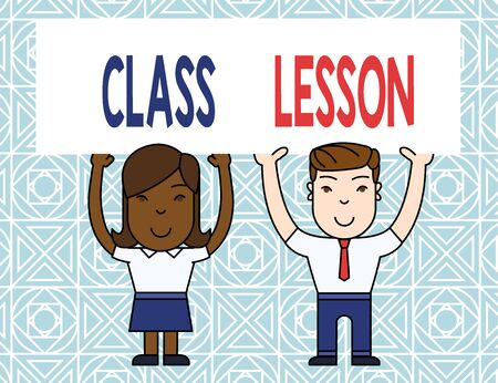 Word writing text Class Lesson. Business photo showcasing subject session scheduled for a particular time and day Two Smiling People Holding Big Blank Poster Board Overhead with Both Hands