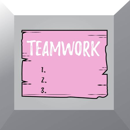 Conceptual hand writing showing Teamwork. Concept meaning Group of showing who work together as one and with the same aim Wooden plank slots grooves wood panel colored board lumber Stok Fotoğraf