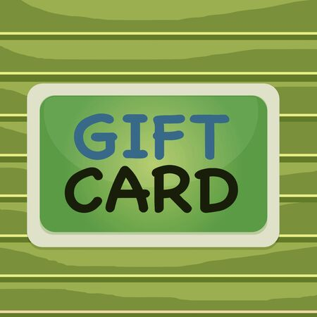 Conceptual hand writing showing Gift Card. Concept meaning A present usually made of paper that contains your message Board rectangle white frame empty fixed color surface plank