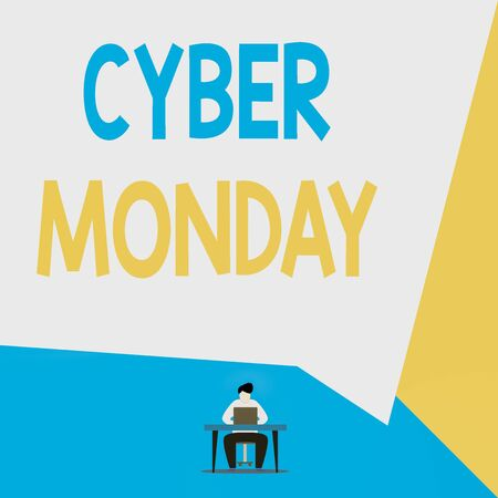 Handwriting text Cyber Monday. Conceptual photo Monday after the Thanksgiving holiday Online shopping day View young man sitting chair desk working open laptop geometric background Stock Photo