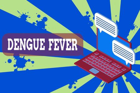 Writing note showing Dengue Fever. Business concept for infectious disease caused by a flavivirus or aedes mosquitoes Laptop receiving sending information internet wireless Stockfoto