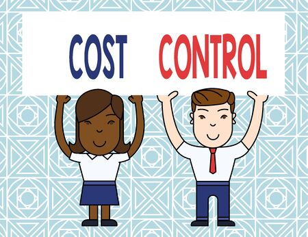 Word writing text Cost Control. Business photo showcasing practice of identifying and reducing business expenses Two Smiling People Holding Big Blank Poster Board Overhead with Both Hands