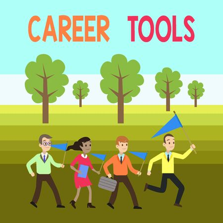 Word writing text Career Tools. Business photo showcasing the system designed to assist and enhance your career People Crowd Flags Pennants Headed by Leader Running Demonstration Meeting