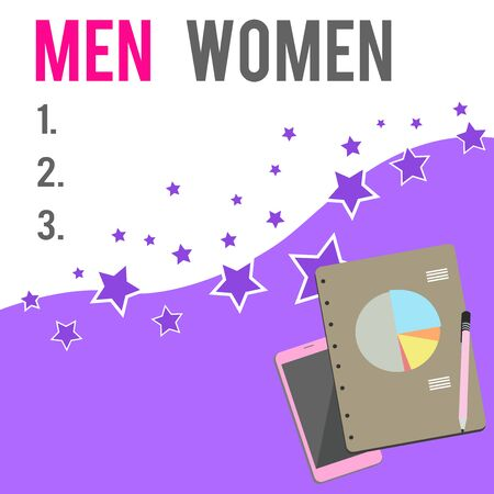 Text sign showing Men Women. Business photo showcasing The state where in a boy or a girl turns to be a mature adult Layout Smartphone Off Ballpoint Pen RingBound Notepad Business Pie Chart