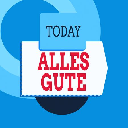 Text sign showing Alles Gute. Business photo text geranalysis translation all the best for birthday or any occasion Blank banner rectangle square above semicircle down Geometrical background Zdjęcie Seryjne