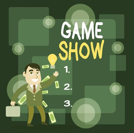 Writing note showing Game Show. Business concept for Program in television or radio with players that win prizes Successful Businessman Generating Idea or Finding Solution 版權商用圖片
