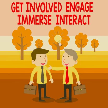 Text sign showing Get Involved Engage Immerse Interact. Business photo text Join Connect Participate in the project Two White Businessmen Colleagues with Brief Cases Sharing Idea Solution