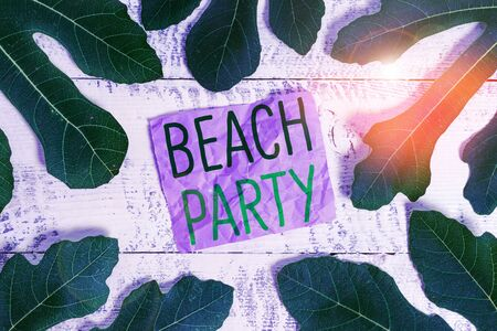 Word writing text Beach Party. Business photo showcasing small or big festival held on sea shores usually wearing bikini