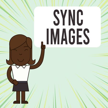 Text sign showing Sync Images. Business photo showcasing Making photos identical in all devices Accessible anywhere Woman Standing with Raised Left Index Finger Pointing at Blank Text Box Banco de Imagens - 132122558