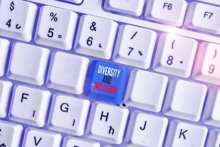 Writing note showing Diversity And Inclusion. Business concept for range huanalysis difference includes race ethnicity gender White pc keyboard with note paper above the white background