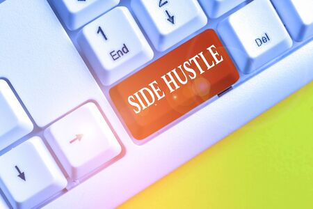 Word writing text Side Hustle. Business photo showcasing way make some extra cash that allows you flexibility to pursue White pc keyboard with empty note paper above white background key copy space Stok Fotoğraf