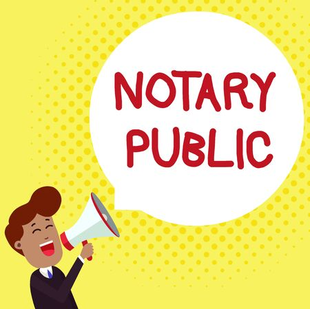 Handwriting text Notary Public. Conceptual photo Legality Documentation Authorization Certification Contract Young Man Shouting into Megaphone Floating Round Shape Empty Speech Bubble Stock fotó
