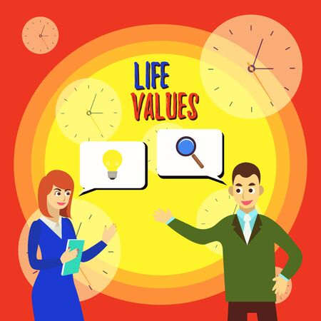 Text sign showing Life Values. Business photo text things that you believe are important in the way you live Business Partners Colleagues Jointly Seeking Problem Solution Generate Idea