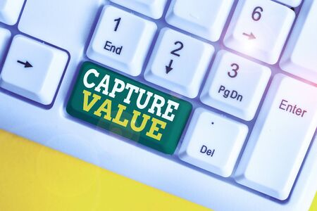 Handwriting text Capture Value. Conceptual photo Customer Relationship Satisfy Needs Brand Strength Retention White pc keyboard with empty note paper above white background key copy space