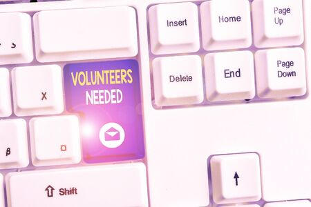 Word writing text Volunteers Needed. Business photo showcasing need work or help for organization without being paid White pc keyboard with empty note paper above white background key copy space