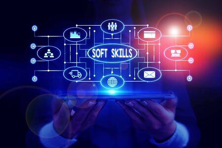 Text sign showing Soft Skills. Business photo showcasing demonstratingal attribute enable interact effectively with other showing Woman wear formal work suit presenting presentation using smart device