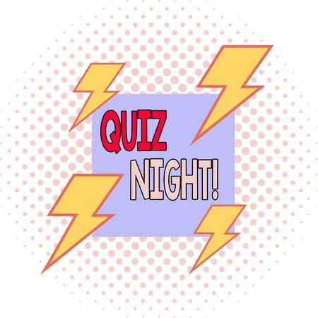 Word writing text Quiz Night. Business photo showcasing evening test knowledge competition between individuals Asymmetrical uneven shaped format pattern object outline multicolour design