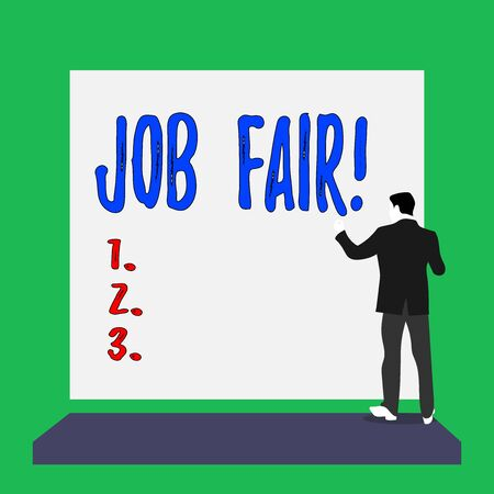 Handwriting text Job Fair. Conceptual photo event in which employers recruiters give information to employees Short hair immature young man stand in front of rectangle big blank board