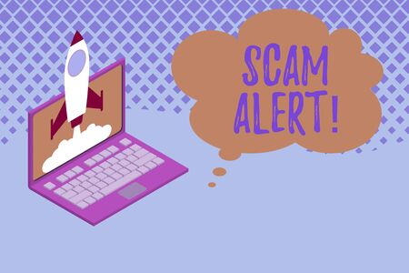 Writing note showing Scam Alert. Business concept for fraudulently obtain money from victim by persuading him Rocket launching clouds laptop background. Startup project growing. SEO