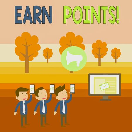 Writing note showing Earn Points. Business concept for collecting scores in order qualify to win big prize SMS Email Marketing Media Audience Attraction PC Loudspeaker Banque d'images - 132146206