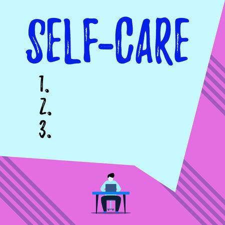Text sign showing Self Care. Business photo showcasing practice of taking action to preserve or improve ones own health Young man sitting on chair while typing use his laptop above the table Stock fotó