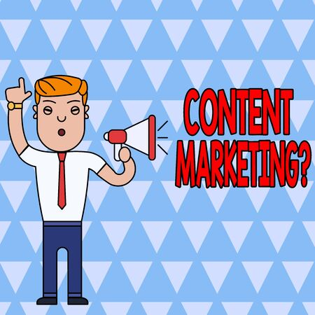Conceptual hand writing showing Content Marketing Question. Concept meaning involves creation and sharing of online material Man Standing with Raised Right Index Finger with Megaphone Imagens