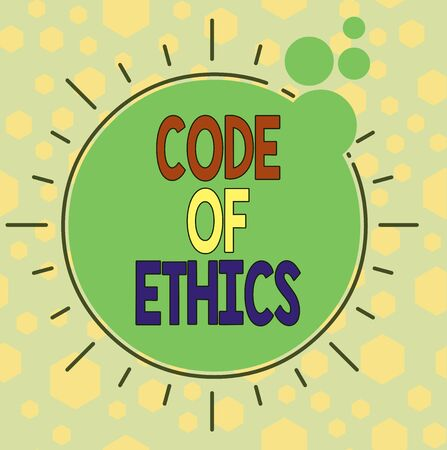 Handwriting text writing Code Of Ethics. Conceptual photo basic guide for professional conduct and imposes duties Asymmetrical uneven shaped format pattern object outline multicolour design Standard-Bild